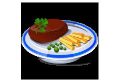 6. Vyprážaný kurací rezeň(125g), zeleninová obloha(80g) [1, 3]