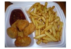 11. Vyprážané kuracie nugetky, hranolky, kečup, 150g/200g [1, 3]
